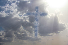 Cross in clouds. Clouds with a form of a cross on the sky Stock Photography