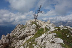 Cross on Coldai Peak Royalty Free Stock Photography