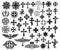 Cross collection. Big collection of vector isolated crosses Royalty Free Stock Image
