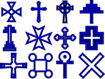 Cross collection. Set of cross illustrations in black and blue Royalty Free Stock Photography