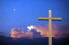 Cross and Colorful Sky Royalty Free Stock Photography