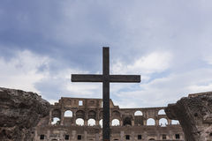 Cross in the Colosseum Royalty Free Stock Photography