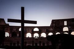 The cross in the Colosseum Royalty Free Stock Images