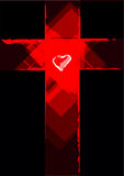 Cross Contemporary Abstract with a Heart in the Middle. Editable Clip Art. Red Grunge Cross with a White Heart in the middle. Vector and jpg royalty free illustration