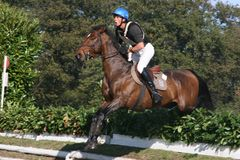 Cross country. International horse competition in Italy, Cascina Bornago, on 25 october 2009 Stock Photo