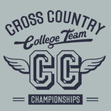 Cross Country College Team t-shirt design Stock Image