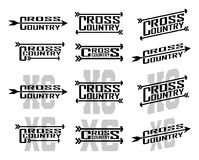Cross Country Designs. Is an illustration of twelve designs for cross country runners in schools, clubs and races. Great for t-shirt, flyers and school designs Royalty Free Stock Photos
