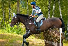 Cross-Country, horseback jumping Stock Photo
