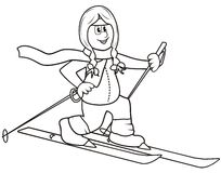 Cross-country-lady-coloring book. Girl riding on skis - coloring Stock Image
