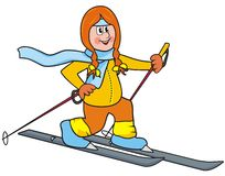 Cross country lady. Girl with headband and scarf goes cross-country skiing Stock Photos