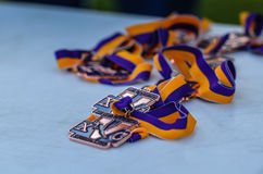 Cross Country Medal. Bronze medals on purple and gold ribbons, handed out at Cross Country Invitational Meet Stock Image