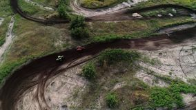 Cross country motorcycling track above aerial view stock footage