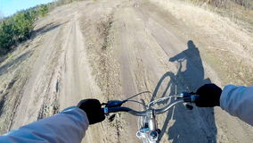 Cross country mountain biking Point Of View POV. POV Mountain Biking Through Forest Real Cam Shot stock video