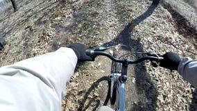 Cross country mountain biking Point Of View POV. POV Mountain Biking Through Forest Real Cam Shot stock video footage