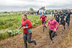 Cross-country race. Before next obstacle. Tyumen Royalty Free Stock Image
