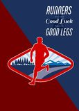 Cross Country Runner Retro Poster Royalty Free Stock Images