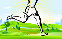 Cross country running Stock Photo