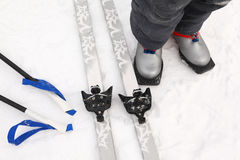 Cross-country ski and boots of boy Stock Images