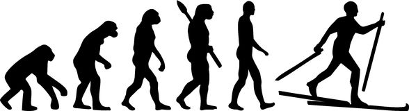 Cross Country Ski Evolution. Silhouette Royalty Free Stock Photo