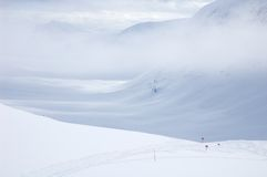 Cross country ski hiking trail Kungsleden Royalty Free Stock Images