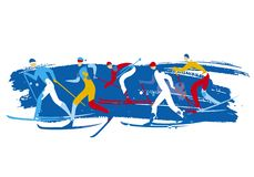 Cross country Ski Race, grunge stylized. royalty free illustration