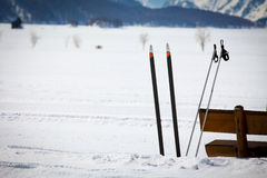 Cross Country Ski Tracks in Engadin Royalty Free Stock Photos