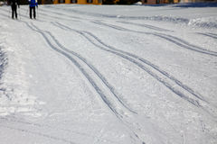 Cross Country Ski Tracks in Engadin Royalty Free Stock Images