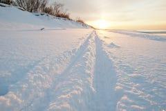 Cross country ski tracks at seaside. Cross country skiing at sunset, seaside Stock Photo