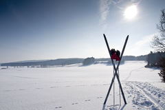 Cross country ski trail with ski Stock Photo