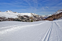 Cross Country ski trail in Somport resort. Groomed Cross Country ski trail in Somport ski resort, the Aspe Valley is in perspective, Bearn, Atlantic Pyrenees Stock Images