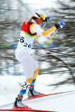 Cross country skier. Cross country female skier in a competition in Olympic game of Turin 2006 Royalty Free Stock Image