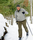 Cross Country Skier. An active male enjoys kicking up snow in an Ontario forest on cross-country skis Stock Image