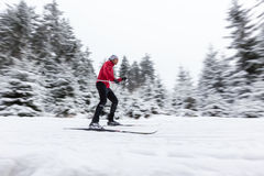 Cross-country skier in blur motion Stock Image