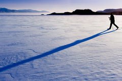 Cross-Country Skier long shadow Royalty Free Stock Image