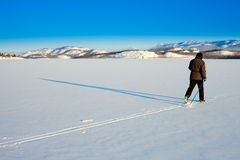 Cross-Country Skier long shadow Stock Photos