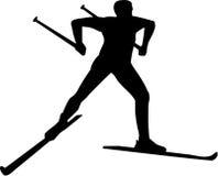 Cross country skier silhouette. Man Stock Photo