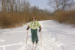 Cross Country Skier on a Sunny Day Stock Photos