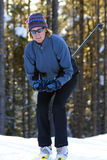 Cross Country Skier in the trees Stock Photos