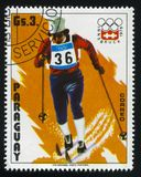 Cross country skier at Winter Olympics in Innsbruck. RUSSIA KALININGRAD, 19 APRIL 2017: stamp printed by Paraguay, shows  Cross country skier at Winter Olympics Stock Photo