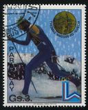 Cross country skier at Winter Olympics in Innsbruck. RUSSIA KALININGRAD, 19 APRIL 2017: stamp printed by Paraguay, shows  Thomas Wassberg, Cross country skier at Stock Photography