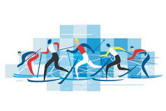 Cross country Skiers. Royalty Free Stock Photo
