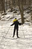 Cross Country Skiing. Two people cross country ski Royalty Free Stock Photo