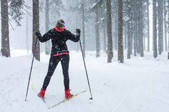 Cross country skiing in bad weather. Royalty Free Stock Image