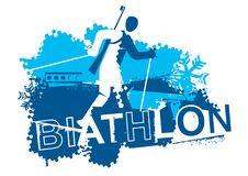 Cross country skiing Biathlon racer. Grunge stylized Illustration  of The running biathlon athlete and inscription BIATHLON. Vector available Royalty Free Stock Photography