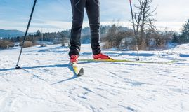 Cross country skiing. Close up of shoes and skiis Stock Photos