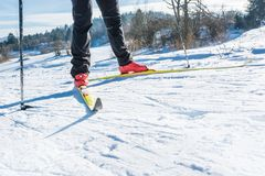 Cross country skiing. Close up of shoes and skiis Stock Images