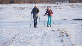 Cross-country skiing on field. stock video