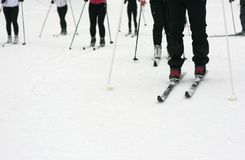 Cross country skiing. Focus on the tip of the front skis Royalty Free Stock Photos