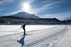 Cross-country skiing of a free technical man. Skating.  stock image