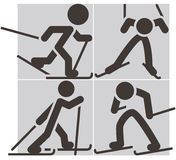 Cross-country skiing icons Royalty Free Stock Photography